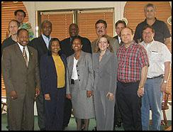 Front Row/Left to Right: Paul Washington, Donetta Spears, ASAC Ava Cooper-Davis, Laura Dicesare, James Benisek adn Larry Hornstein. 2nd Row/Left to Right: Scott Springer, SAC RC Gamble, Grayling Williams, ASAC Keven Foley and ASAC Thomas Harringan. Top Left: Daniel Meyer; Top Right: David Gaona