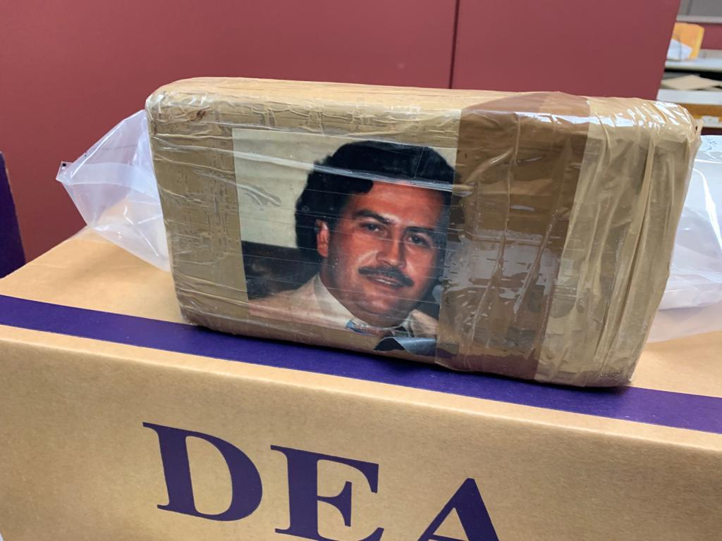 Organization used Pablo Escobar image and name to label kilograms