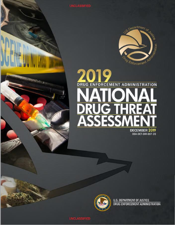 Photograph of cover of 2019 DEA National Drug Threat Assessment.