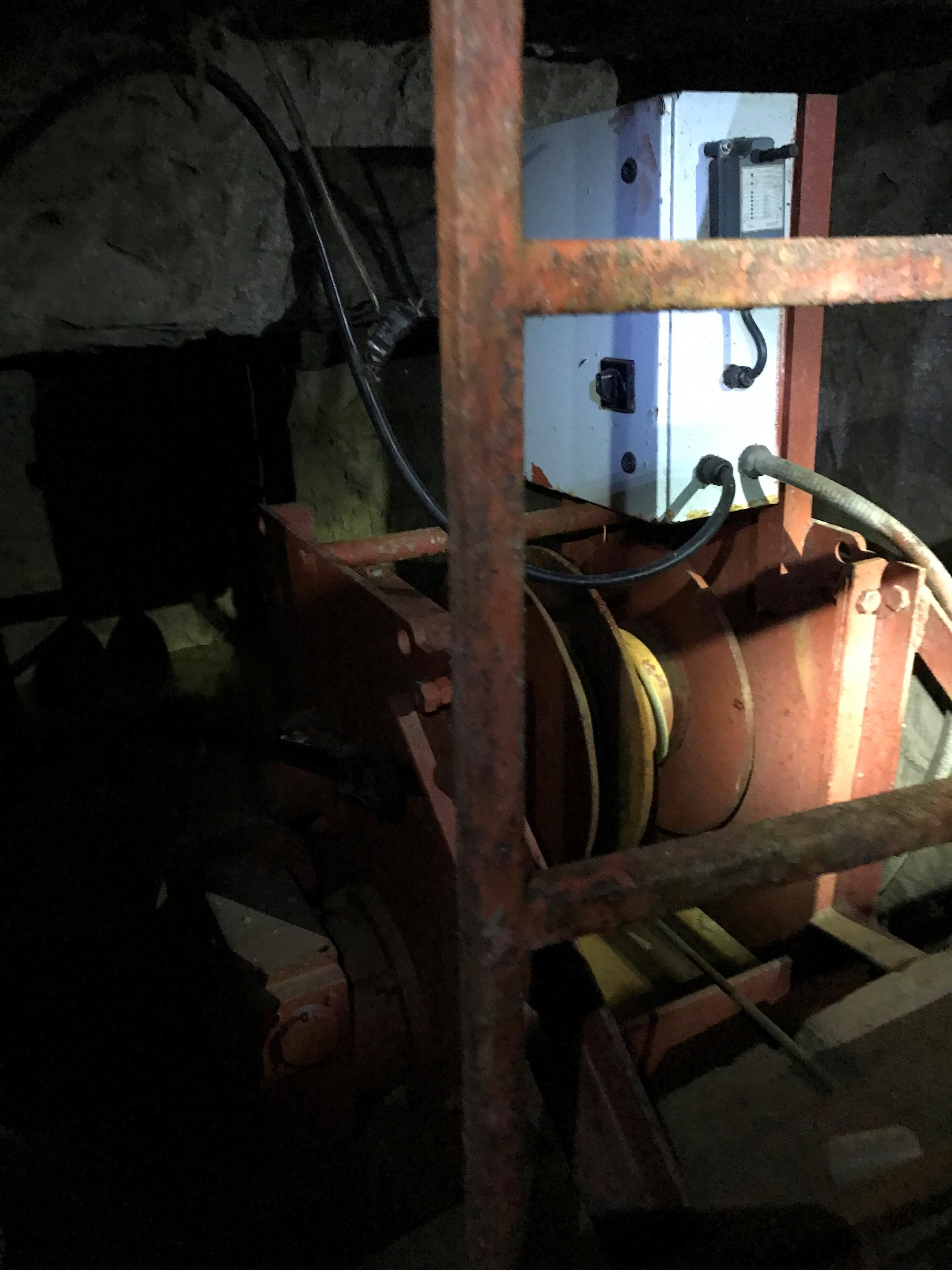 Photograph of the winch used to operate the tunnel elevator in the San Diego tunnel.