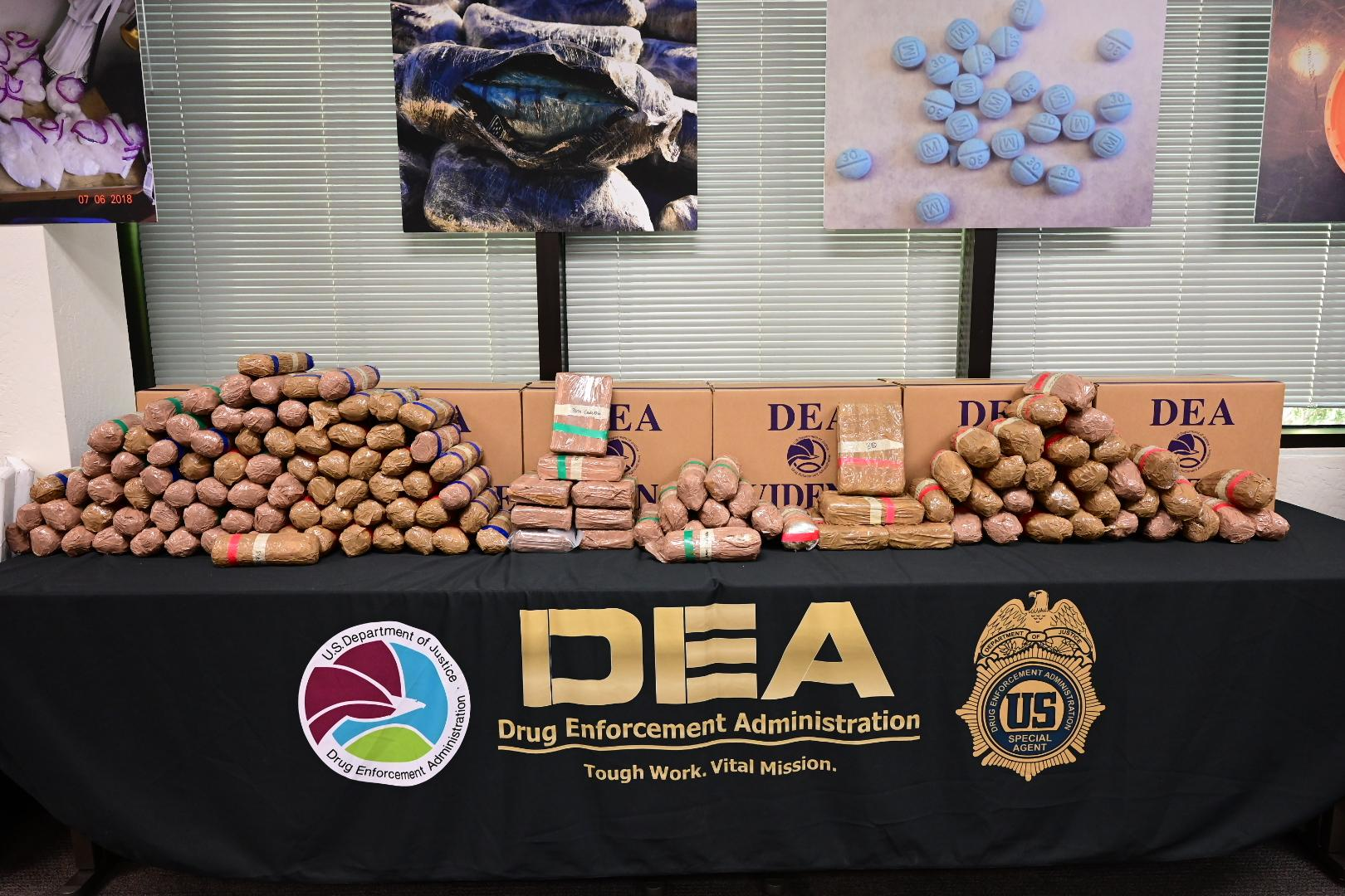 packaged Meth and Fentanyl Pills seized in Operation Crystal Shield