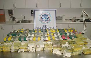 95 kilograms of cocaine seized by CBP officers working for the Caribbean Corridor Strike Force.