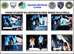Young student in uniform buying drugs in La Perla