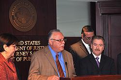SAC Javier Peña addresses the media during the press conference at the U.S. Attorney's Office in Hato Rey, PR