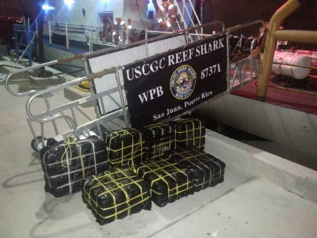 Seven bales containing 242 kilograms of cocaine seized by the US Coast Guard Cutter Reef Shark