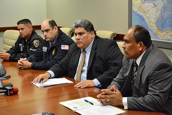 L-R: PRPD SGT Victor Salgado, HSI SA Arturo Colon, AUSA Carlos Cardona, and DEA ASAC Sergio Luna respond to members of the media during the news conference at the DEA Caribbean Division today.