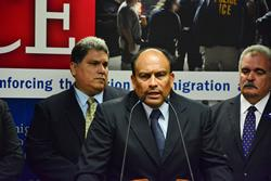 At the joint news conference DEA ASAC Sergio Luna (center) highlights DEA's role in the investigation. Standing next to ASAC Luna is (L) AUSA Carlos Cardona and (R) FBI ASAC Samuel Santana.
