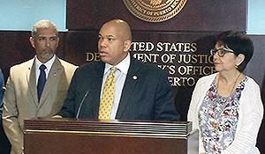 District of Puerto Rico announce the results of the DEA lead arrest operation during a news conference at the U.S. Attorney's Office. Picture are (L-R) ATF RAC Felix Rios, DEA ASAC James Doby and U.S. Attorney Rosa Emilia Rodriguez