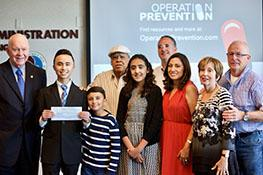 Operation Prevention Video Challenge 3rd place winner, Nate Trillo, with his family and DEA Education Foundation Board Member, Charlie Blau.