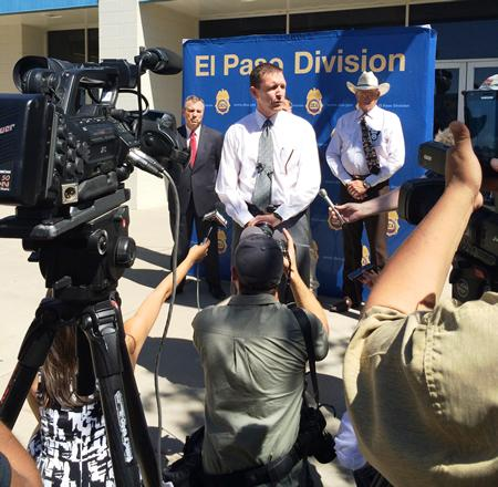 Special Agent in Charge Will Glaspy answers questions from the press following a large takedown in Odessa, Texas.