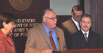 SAC Javier Peña addresses the media during the press conference at the U.S. Attorney's Office in Hato Rey, PR.