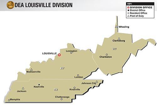 map of DEA Louisville Division