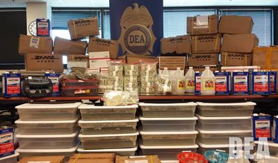 Large amounts of money and designer synthetic drugs seized in Gulfport, Mississippi.