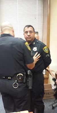 Former Houston Police Officer Noe Juarez, under arrest in April 2015.