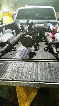 Pick-up truck with axel and drive shaft where heroin was found concealed within the axle casing.