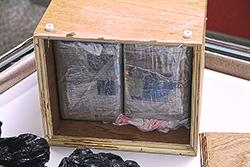 Child's chest opened to show two kilograms of cocaine concealed inside.