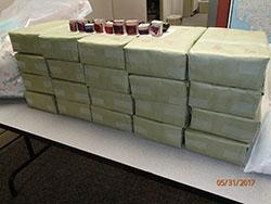Bricks filled with heroin, ink stamps and branded envelopes