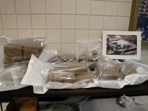 Bundles of seized marijuana.