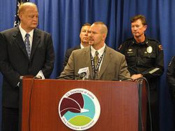 DEA Acting SAC Doug Coleman at the podium; L-R: Arizona Attorney General Tom Horne; FBI SAC James Turgal; Avondale Police Department Chief Kevin Kotsur