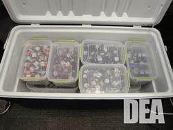 Vials of anabolic steroids found in a storage facility.