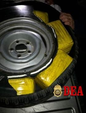 30 pounds of methamphetamine secreted in tire seized by the CRO.