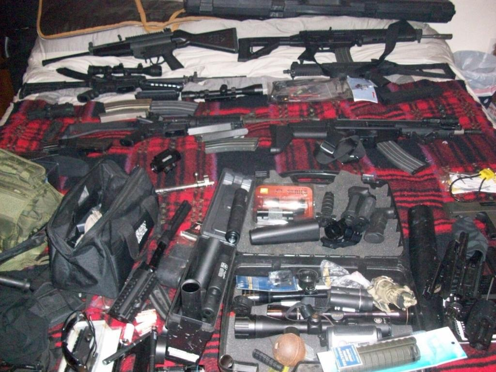 A photo used by the group displaying the various weapons they had for sale.