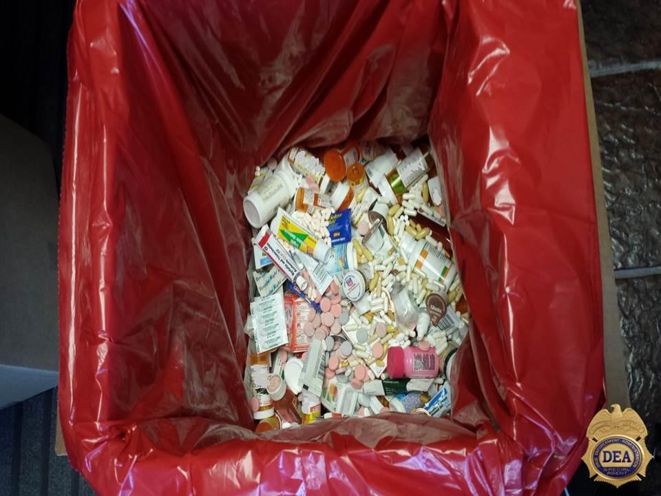 Collection bin filling up with unused and/or unwanted prescription medications in the Pacific Northwest.