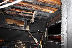 Charred inside of Sunkenberg's trailer after the explosion and fire.