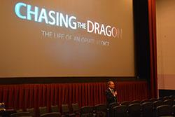 St. Louis Division SAC James Shroba provides an opening statement prior to the start of the Chasing the Dragon movie.